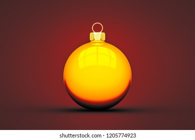 yellow Christmas ball isolated on red background 3d illustration