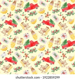 Yellow Christmas pattern for paper postcards stickers