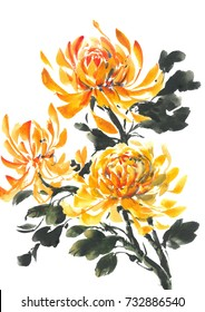Yellow chrysanthemum. Bright flowering Chrysanthemum. Watercolor background.