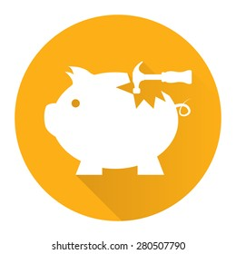 Yellow Circle Broken Piggy Bank With Hammer Flat Long Shadow Style Icon, Label, Sticker, Sign or Banner Isolated on White Background