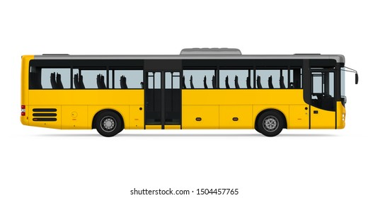 Yellow City Bus Isolated (side view). 3D rendering