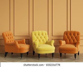 Yellow classic tufted chair among orange chairs are standing in an empty room with copy space.Orange walls and floor parquet oak Herringbone. Digital illustration. 3d rendering mock up
