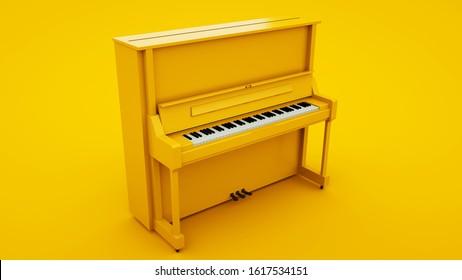 Yellow Classic Upright Piano. Minimal idea concept, 3d illustration.