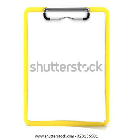 yellow clipboard blank paper lines 3 d stock illustration 328136501