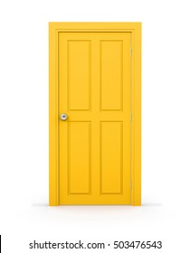 yellow close door on white background 3d rendering