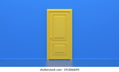 Yellow closed door on blue background. Frame on blue Wall in the Empty Room. Interior Design Element. Design Template for Graphics. 3d render
