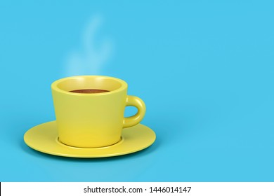 Yellow coffee cup with hot espresso on blue background, 3D illustration