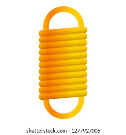 Yellow coil spring icon. Cartoon of yellow coil spring icon for web design isolated on white background