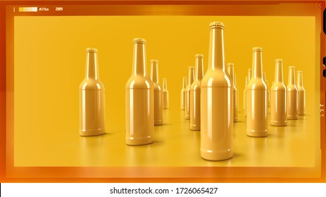 yellow color beer bottles on yellow background with film strip frame -3d rendering