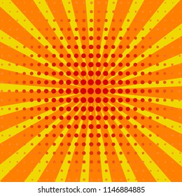 Yellow colored back pop art style background. backdrop line space. sun beam template.