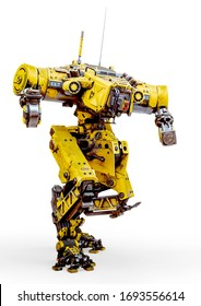 yellow combat mech in action in a white background, 3d illustration