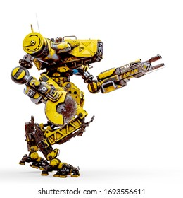yellow combat mech is ready for war in a white background, 3d illustration