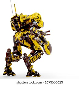 yellow combat mech is ready for war in a white background rear view, 3d illustration