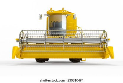 Yellow Combine harvester isolated on a white background. Front face view