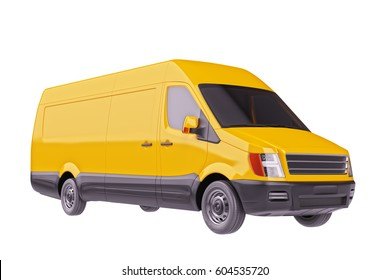 Yellow Commercial Delivery Van Isolated on White 3d Illustration