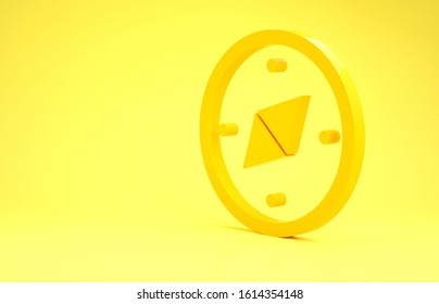 Yellow Compass icon isolated on yellow background. Windrose navigation symbol. Wind rose sign. Minimalism concept. 3d illustration 3D render