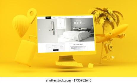 Computadora amarilla con el concepto de representación 3d del sitio web del hotel