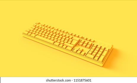 Yellow Computer keyboard 3d illustration 3d render
