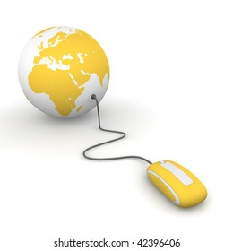 yellow computer mouse connected to a yellow globe