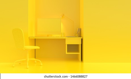 Yellow computer on work desk table with cup coffee, mouse, notebooks in yellow room background. minimal idea concept, 3d render.