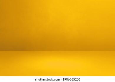 Yellow concrete interior background. Empty template scene