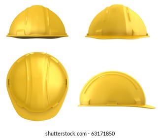 Yellow construction helmet four views isolated on white