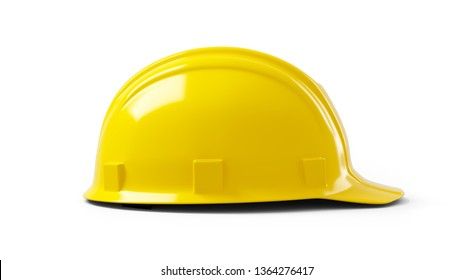 Yellow construction helmet isolated on white background. 3d illustration, 3d rendering