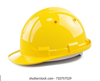 Yellow construction helmet isolated on white background 3d