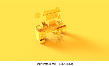 Yellow Contemporary Home Office Setup with Set of Draws Shelf Picture Frames Laptop an Files 3d illustration 3d rendering