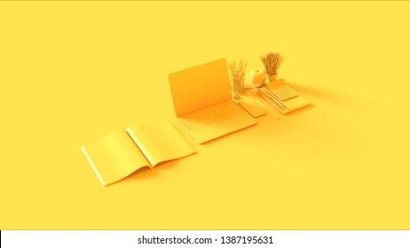 Yellow Contemporary Hot Desk Office Setup with Laptop Mobile Phone Notepads Pens Magazine Calculator an Bull clips 3d illustration 3d rendering