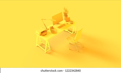Yellow Contemporary Office 3d illustration 3d rendering