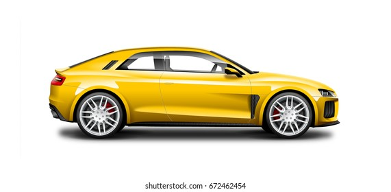 Yellow Coupe Sporty Car. Generic automobile with glossy and carbon fiber surface on white background. Side view with isolated path.