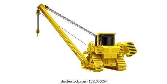 Yellow crawler crane with side boom. 3d rendering.