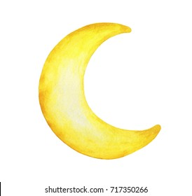 Yellow crescent moon painted isolation on white background. - Watercolor illustration.