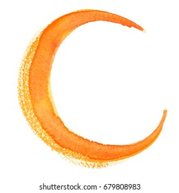 Yellow crescent moon painted in watercolor on clean white background