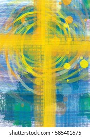 Yellow cross on blue background, christian religious abstract artistic illustration for Easter or any other occasion