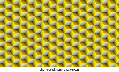 yellow cubes tiles geometric background 3d illustration