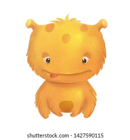 Yellow cute cartoon funny monster on the white background
