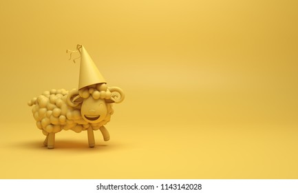 Yellow cute cartoon sheep smile wearing party hat. Design creative concept of islamic celebration eid al adha or happy birthday. Copy space text. 3d rendering illustration.