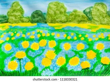 Yellow dandelions and blue myosotis - forget-me-nots