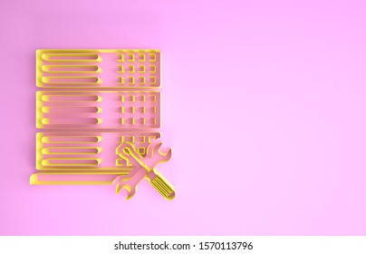 Yellow Database server with screwdriver and wrench icon isolated on pink background. Adjusting, service, setting, maintenance, repair, fixing. Minimalism concept. 3d illustration 3D render