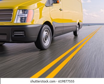 Yellow Delivery Commercial Van Motion Blurred 3d Illustration Background