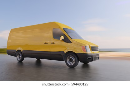 Yellow Delivery Commercial Van on Coastal Road Motion Blurred 3d Illustration