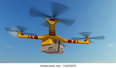 yellow delivery drone - drone delivery a cardboard package - 3d render