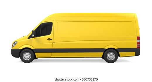 Yellow Delivery Van Isolated. 3D rendering