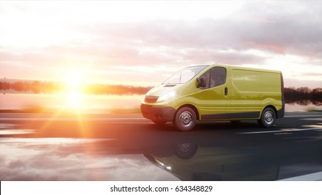 Yellow delivery van on highway. Very fast driving. Transport and logistic concept. 3d rendering.