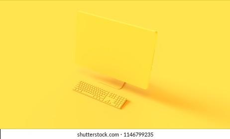 Yellow Desktop Computer and Slim Keyboard 3d illustration