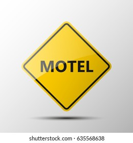 yellow diamond road sign with a black border and an image MOTEL on white background. Illustration