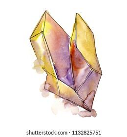 Yellow diamond rock jewelry mineral. Isolated illustration element. Geometric quartz polygon crystal stone mosaic shape amethyst gem.