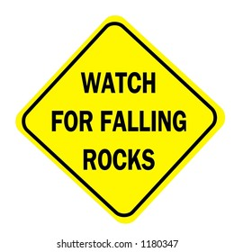 Yellow Diamond watch for falling rocks  traffic sign isolated on a white background